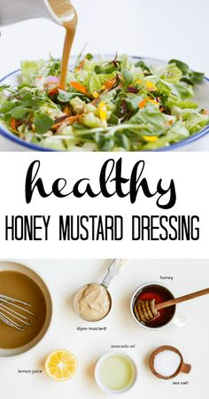 Healthy Honey Mustard Dressing - The perfect combination of tangy and sweet. And made with only 5 real food ingredients. Paleo Recipes, Real Food Recipes, Cooking Recipes, Sauce Recipes, Cooking Tips, Honey Mustard Salad Dressing, Honey Mustard Vinaigrette, Vinegrette Salad Dressing, Sugar Free Salad Dressing