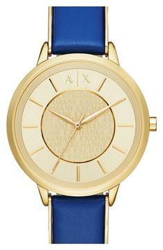 1bd06eb355d AX Armani Exchange Leather Strap Watch