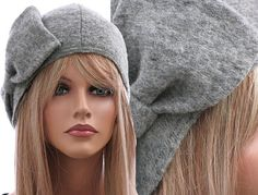 effcb949504 Artsy handmade womens winter hat   cap in grey   soft boiled wool   M  unstretched - up to L stretched
