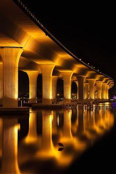 Portraits of Cities at Night (10 Stunning Pics) - Part 1, Roosevelt Bridge ~ Stuart, Florida.