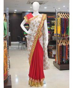Red chiffon and white georgette patli pallu saree