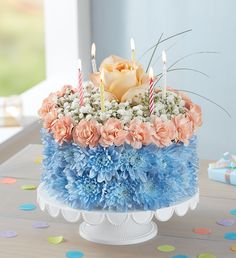Cheers to summer birthdays! Our one-of-a-kind flower creation, Birthday Wishes Flower Cake® Costal, is handcrafted from cool, coastal-colored blooms for a fun, summery gift they won't soon forget. Summer Flowers To Plant, Birthday Wishes Flowers, 800 Flowers, Happy Birthday Balloons, Summer Birthday, Love Cake, Summer Wreath, Birthdays, Table Decorations
