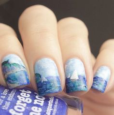 piCture pOlish = Tine aka @tinesuchtnachmehr inspired by Claude Monet 'Cliffs and Sailboats at Pourville' featuring PP shades. Thank you Tine ❤️❤️ www.picturepolish.com.au