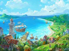 Background of servers selection by Ecystudio on DeviantArt Fantasy City, Fantasy Places, Fantasy Kunst, Fantasy World, Scenery Background, Animation Background, Cartoon Background, Fantasy Art Landscapes, Fantasy Landscape