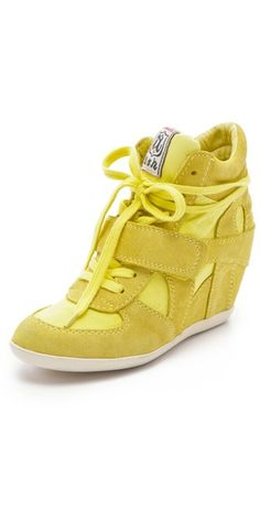 The yellow Ash 'Bowie' suede sneakers with canvas inserts has a hidden wedge for a feminine edge $195, get it here: http://rstyle.me/~pClg