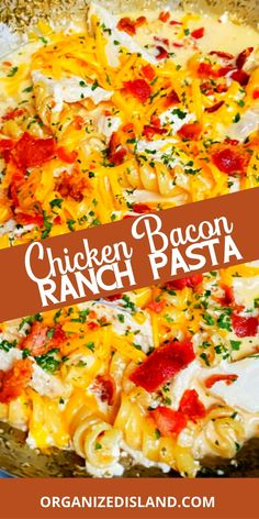 Chicken, Bacon and Ranch come together in this easy stovetop pasta dinner. Ready in about 30 minutes and delicious! Simple Meals, Simple Recipes, Amazing Recipes, Easy Chicken Dinner Recipes, Best Dinner Recipes, Pasta Recipes, Best Pasta Dishes, Food Dishes, Main Dishes