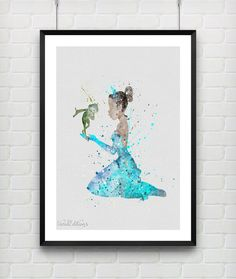Princess Tiana Poster, Disney The Princess and the Frog Watercolor Art Print by VIVIDEDITIONS