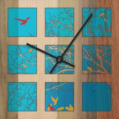 """""""Bird Watching"""" - Time Squares are simple clocks crafted from thoughtful materials and embellished with unique designs. The clocks are designed, branded, manufactured, assembled and packaged by Wild Blue."""