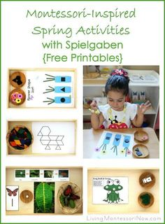 Use Spielgaben educational toys and free printables to prepare Montessori-inspired spring activities for preschoolers through first graders; post includes Montessori Monday linky collection.