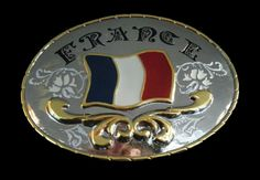 France French Flag Drapeau Francais Western Belt Buckle Boucle De Ceinture #france #franceflag #western #westernbeltbuckle #buckle #beltbuckle
