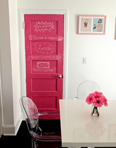 Pink chalkboard paint.... OOOOHHHH I didn't know you can color it!? that's exciting!!