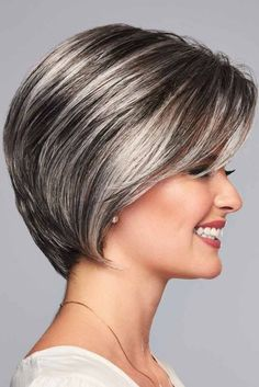 Sheer Elegance by Eva Gabor Wigs - Lace Front Wig - Best Pins Medium Bob Hairstyles, Hairstyles Haircuts, Cool Hairstyles, Short Highlighted Hairstyles, Short Grey Hair, Short Hair Cuts, Grey Wig, Gabor Wigs, Gray Hair Highlights