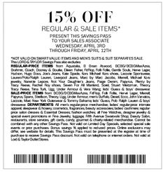 Lord and Taylor Printable Coupons: 15% off (Printable) - Expires 4/12