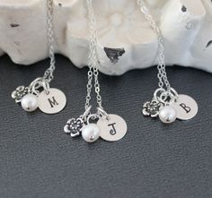 Set of Three Initial Bridesmaids Necklaces Personalized Bridesmaids Gift Necklaces Cherry Blossom Necklace Necklace Bridal Jewelry. $76.00, via Etsy.