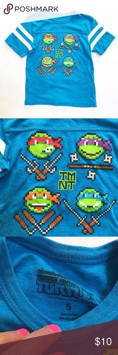 TMNT [boys] Blue Ninja Turtles Shirt Gently worn. Blue with white trim TMNT shirt. Nickelodeon Shirts & Tops Tees - Short Sleeve