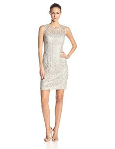 ** Super Saver ** Adrianna Papell Women's Sleeveless Metallic Lace Dress with Sequins