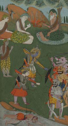 A rare complete illustrated and illuminated Ramayana manuscript, Jammu, Punjab Hills, India, circa 1820 | lot | Sotheby's