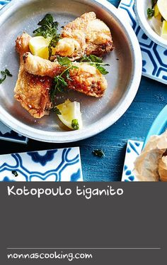 Kotopoulo tiganito | Vibrant flavours of the Mediterranean add a Greek accent to this comfort food dish. The Greeks are the masters of succulent, marinated meats, and this chicken is coated in a garlicky, zesty marinade, and flavoured with fragrant herbs such coriander, juniper berries and bay leaves, before being fried. Served with fried oregano sprigs and extra lemon to squeeze over the top, it's best eaten with a shot or two of ouzo. Oven Dishes Recipes, Food Dishes, Marinate Meat, Best Oven, Juniper Berry, Bay Leaves, Coriander Seeds, Lemon Recipes, Greeks