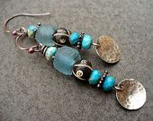 BLUE MOON-handmade copper, sterling silver, and beaded earrings