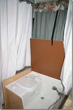 Shower/Toilet in pop-up camper