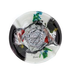 """Round Ashtray, Handmade Fused Glass Decorative Ornament, Black & White Design 20cm (7.9"""") Black And White Design, Black White, Smoking Accessories, Drink Coasters, Fused Glass, Christmas Bulbs, Great Gifts, Shapes, Holiday Decor"""