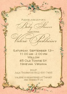 French Paper Pink Baby Girl Shower Invitation or Sip and See Elegant Vintage - Printable Invite Custom DIY 5x7 Digital JPEG and PDF Files. $15.00, via Etsy.