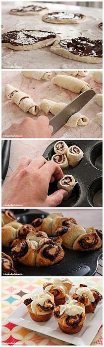 Rollos de Nutella con glaseado de queso crema