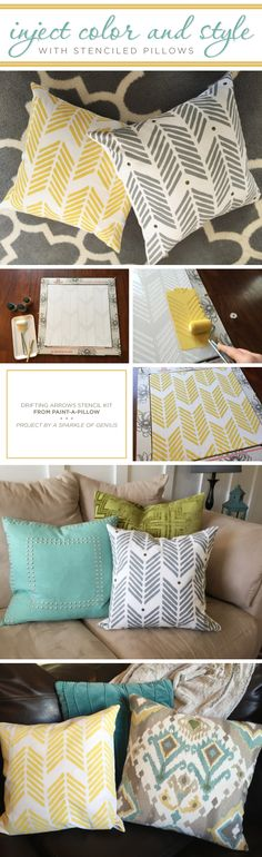 DIY Accent Pillows Using the Drifting Arrows Paint-A-Pillow Kit - I love using throw pillows to add color, pattern and texture to a room and these DIY accent pillows look like a great way to do just that! Diy Throws, Diy Throw Pillows, Accent Pillows, Sewing Pillows, Cool Stencils, Stencil Diy, Arrow Painting, Stenciled Pillows, Diy Cadeau Noel