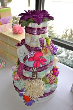 Diaper cake at a Feather Your Nest Baby Shower #babyshower #diapercake