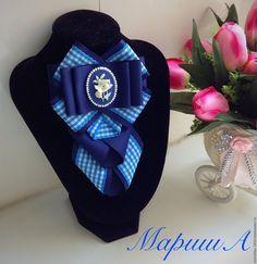 Купить Галстук брошь - тёмно-синий, в клеточку, брошь ручной работы, галстук, репсовая лента