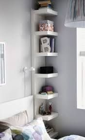 shelves above night table - Google Search