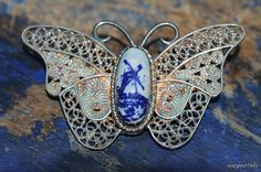 Vintage Scandinavian Sterling Silver Filigree Butterfly Pin