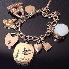 Antique-VICTORIAN-10K-gold-GOLD-FILLED-Charm-Bracelet-WATCH-FOBS