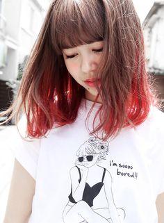 Japanese Hair Color, Hairstyles Haircuts, Cool Hairstyles, Bob Hair Color, Red Ombre Hair, Medium Short Hair, Japanese Hairstyle, Coloured Hair, Aesthetic Hair