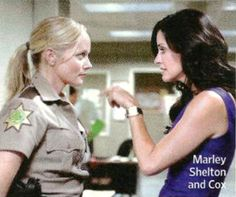 Marley Shelton as Judy Hicks and Courteney Cox as Gale Weathers, Scream 4