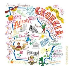 Awesome illustration of our favorite state, Georgia! We love this print.