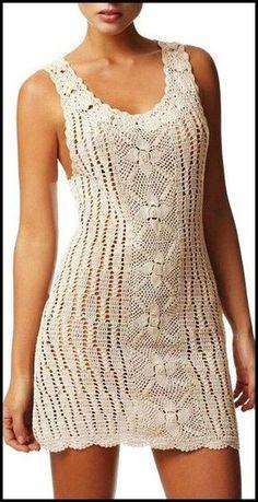 Delicadezas en crochet Gabriela: Vestido blanco en crochet