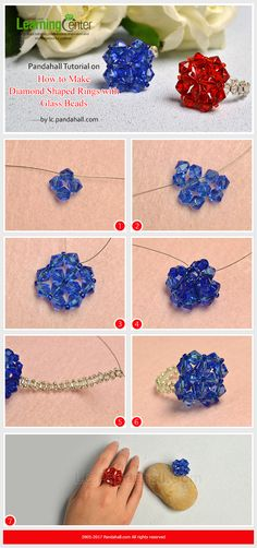 Pandahall Tutorial on How to Make Diamond Shaped Rings with Glass Beads