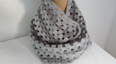 Crocheted Infinity Cowl Scarf shades of gray unisex by softtotouch, $39.00