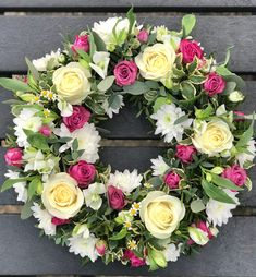 Loose style open funeral wreath in whites and pink. Flower Wreath Funeral, Funeral Flowers, Funeral Floral Arrangements, Flower Arrangements, Spring Wreaths, Holiday Wreaths, Sympathy Flowers, Flower Ideas, Floral Designs