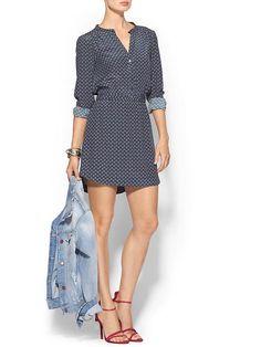 shirt dress + jean jacket + heels/boots