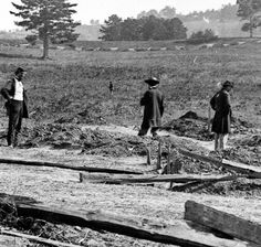Maine soldiers amidst fresh graves on the Cedar Mountain battlefield, August 1862. The detail from which this view comes is in the center of the Civil War Trust property and looks toward Cedar Mountain. Check out my summary study on some of these photos here: http://www.civilwar.org/battlefields/cedarmountain/new-insights-into-cedar.html?referrer=https%3A%2F%2Fwww.google.com%2F