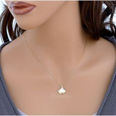 Ginkgo leaf necklace dainty small charm pendant by B9studio