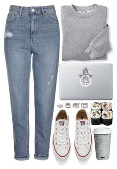 """""""Saturday Night, Mom Jeans & Sushi"""" by saramsilva ❤ liked on Polyvore featuring Topshop, Blair, Fitz and Floyd, Converse and Forever 21"""