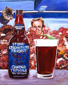 Beer Painting of Stochasticity Project Quadrotriticale Belgian-Style Ale by Stone Brewing Company. Year of Beer Paintings - Day 182.