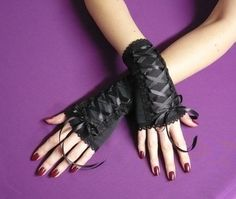 Black short Fingerless Gloves armwarmers, Gothic Wedding Harajuku Cyber , Noir Mitaines,Laced Up Steampunk Gloves,Lolita Style, Corset