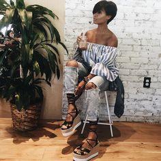 "Kyrzayda Rodriguez ~ on Instagram: ""Coffee break with @fashionmaracas planning ✈️ Dom. Rep. Here we come top from @shopkyrzscloset PC @fashionmaracas"""