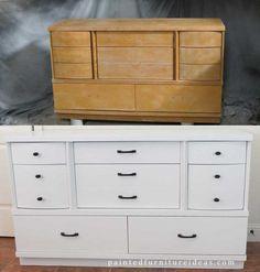 Mid Century Dresser Refinished in White DIY