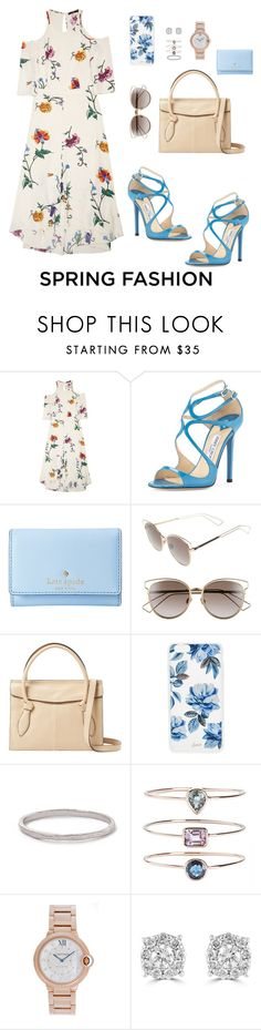 """Untitled #146"" by angelicallerena ❤ liked on Polyvore featuring TIBI, Jimmy Choo, Kate Spade, Christian Dior, Foley + Corinna, Sonix, 19Fifth, Cartier and Effy Jewelry"