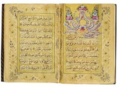 """Surat 67 Mulk (The Kingdom): Short lyrical sura (chapter) of only 30 short ayat .This one can be compared to the Prophet David's Psalms (songs) of the Christian New Testament. 23rd verse: """"It is God who has created you, and made for you the faculties of hearing, seeing, feeling, & understanding. Little thanks it is ye give."""" Ottoman Qur'an signed by Ali Shukri Efendi, Turkey, Galata, 19th century.(A Shabbas)"""